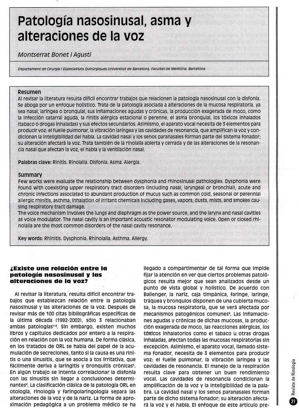 BONET patologia nasosinusal - docencia-publicacions
